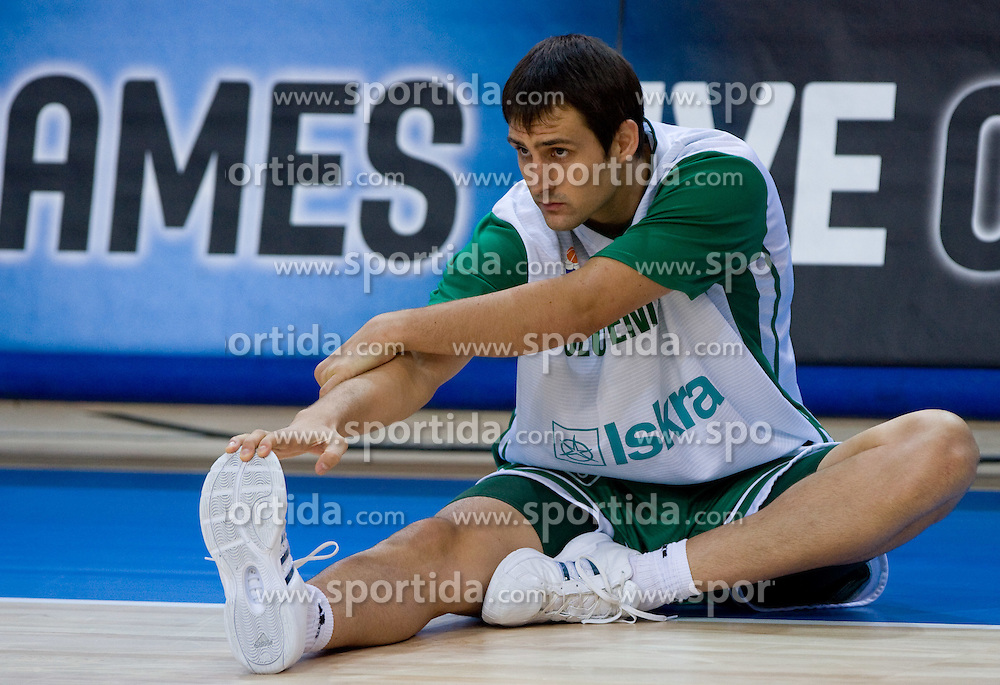 Domen Lorbek of Slovenija at warming up before the basketball match at 1st Round of Eurobasket 2009 in Group C between Slovenia and Great Britain, on September 07, 2009 in Arena Torwar, Warsaw, Poland. (Photo by Vid Ponikvar / Sportida)