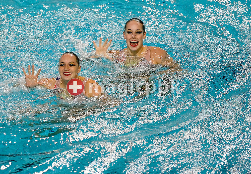 Magdalena Brunner (L) and Ariane Schneider (R) of Switzerland perform in the synchronized (synchronised) swimming duet heats during the 2008 European Aquatics Championships in Eindhoven, Netherlands, Friday, March 14, 2008. (Photo by Patrick B. Kraemer / MAGICPBK)