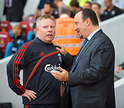 LONDON, ENGLAND - Saturday, September 19, 2009: Liverpool's manager Rafael Benitez and assistant manager Sammy Lee before the Premiership match against West Ham United at Upton Park. (Pic by David Rawcliffe/Propaganda)