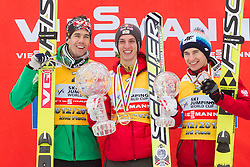 Overall World Cup second placed Anders Bardal of Norway, winner Gregor Schlierenzauer of Austria and third placed Kamil Stoch of Poland celebrate during trophy ceremony after the Flying Hill Individual Event at 4th day of FIS Ski Jumping World Cup Finals Planica 2013, on March 24, 2013, in Planica, Slovenia. (Photo by Vid Ponikvar / Sportida.com)