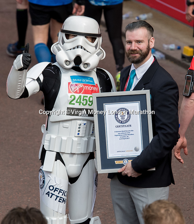Jez Allinson is recognised as the new Guinness World Record holder for the fastest marathon dressed as a Star Wars character (Storm Trooper). The Virgin Money London Marathon, 23rd April 2017.<br /> <br /> Photo: Thomas Lovelock for Virgin Money London Marathon<br /> <br /> For further information: media@londonmarathonevents.co.uk