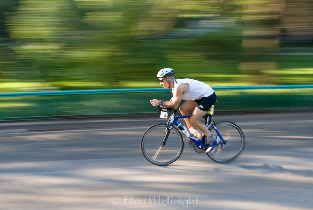 Cyclist at the New York Triathlon in Riverside Park, Manhattan