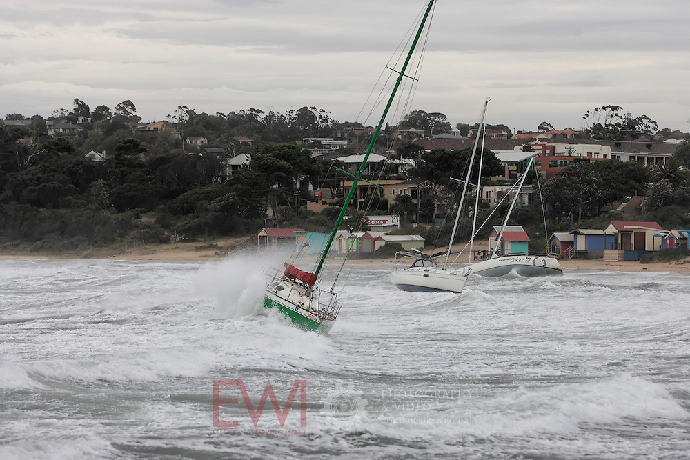 Storm damage to yachts at Mornington Yacht Club.<br />