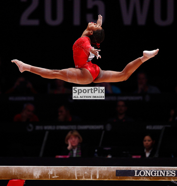 2015 Artistic Gymnastics World Championships being held in Glasgow from 23rd October to 1st November 2015.....Gabrielle Douglas (USA) performs on the Balance Beam in the Women's All-Round Final...(c) STEPHEN LAWSON   SportPix.org.uk