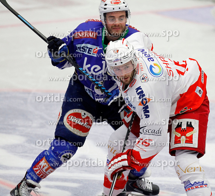 30.03. 2014, Stadthalle, Villach, AUT, EBEL, EC VSV vs HCB Suedtirol, Playoff Halbfinale 4. Runde, im Bild Derek Ryan (VSV,#11) und MacGregor Sharp (HCB Suedtirol,#16) // during the Erste Bank Icehockey League Playoff Semifinal 4th Round match between EC VSV vs HCB Suedtirol at the City Hall, Villach, Austria, 2014/03/30, EXPA Pictures © 2014, PhotoCredit: EXPA/ Oskar Hoeher