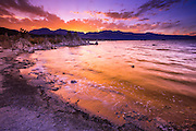 Sunset over the Sierra Nevada Mountains from Mono Lake, Mono Basin National Scenic Area, California USA