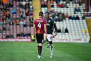 Vadaine Oliver of Northampton Town squares up with Paudie O'Connor of Bradford City during the EFL Sky Bet League 2 match between Bradford City and Northampton Town at the Utilita Energy Stadium, Bradford, England on 7 September 2019.