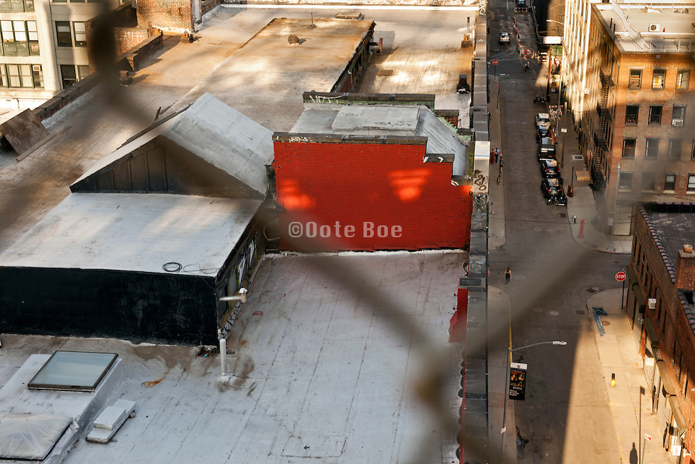 overhead view of building roof and Plymouth street DUMBO Brooklyn New York