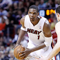 16 March 2011: Miami Heat power forward Chris Bosh (1) looks for a teammate during the Oklahoma City Thunder 96-85 victory over the Miami Heat at the AmericanAirlines Arena, Miami, Florida, USA.
