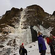 """Skarphéðinn Halldórsson, Sigurður Tómas Þórisson, Róbert Halldórsson og Ágúst Þór Gunnlaugsson looking up at the ice climb  """"Bjarta Hlíðin"""" WI6, Eyjafjöllum."""