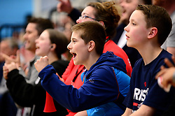 Bristol Flyers fans cheer - Photo mandatory by-line: Dougie Allward/JMP - 01/04/2017 - BASKETBALL - SGS Wise Arena - Bristol, England - Bristol Flyers v Leeds Force - British Basketball League
