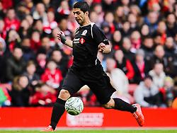 Luis Suarez attacks for the Gerrard XI - Photo mandatory by-line: Dougie Allward/JMP - Mobile: 07966 386802 - 29/03/2015 - SPORT - Football - Liverpool - Anfield Stadium - Gerrard's Squad v Carragher's Squad - Liverpool FC All stars Game