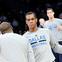 12 April 2014: Dallas Mavericks guard Rajon Rondo (9) is seen during the players introductions prior to the Dallas Mavericks 120-106 victory over the Los Angeles Lakers, at the Staples Center, Los Angeles, California, USA.