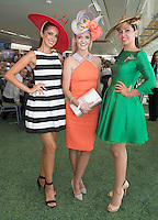 30/07/2014 Sophie Small and Denise Manning from Pia  with Annemarie McManus (JP&rsquo;s daughter-in-law) from Ballsbridge who won the Lydon House  Catering event &ldquo;Handbags, Hat and Heels&rdquo; competition on the top floor of the Killlanin Stand at the Galway Racecourse sponsored by PIA Boutique. <br /> Annemarie said &quot;I&rsquo;m estatic and delighted and I&rsquo;ll be in to Pia tomorrow&quot;. <br /> Annemarie wore a Irish Milliner headpiece by Niamh Reilly and aYSL Handbag and shoes by Louboutin. Photo:Andrew Downes