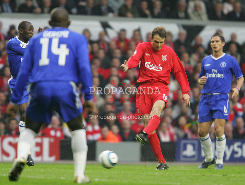 LIVERPOOL, ENGLAND. TUESDAY, MAY 3rd, 2005: Liverpool's Dietmar Hamann shoots against Chelsea during the UEFA Champions League Semi Final 2nd Leg at Anfield. (Pic by David Rawcliffe/Propaganda)