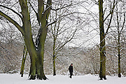 Lone walker on snow-covered Hampstead Heath, North London, United Kingdom