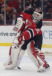 May 6, 2012; Newark, NJ, USA; New Jersey Devils goalie Martin Brodeur (30) plays the puck during the first period in game four of the 2012 Eastern Conference semifinals at the Prudential Center.