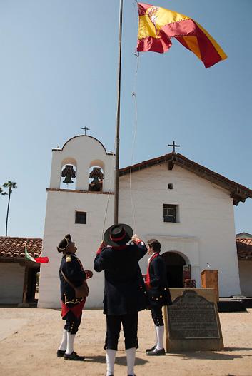 Flag raising at Santa Barbara Presidio; Santa Barbara, CA