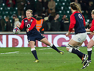 Amber Reed during warm up, England Women v Ireland Women in a 6 Nations match at Twickenham Stadium, Whitton Road, Twickenham, England, on 27th February 2016