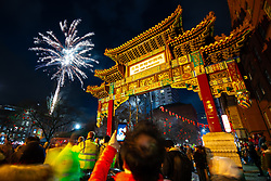 © Licensed to London News Pictures . 10/02/2019 . Manchester , UK . Fireworks in China Town in Manchester City Centre as people celebrate Chinese New Year in Manchester with a display of oriental culture and a procession through the city centre . Photo credit : Joel Goodman/LNP