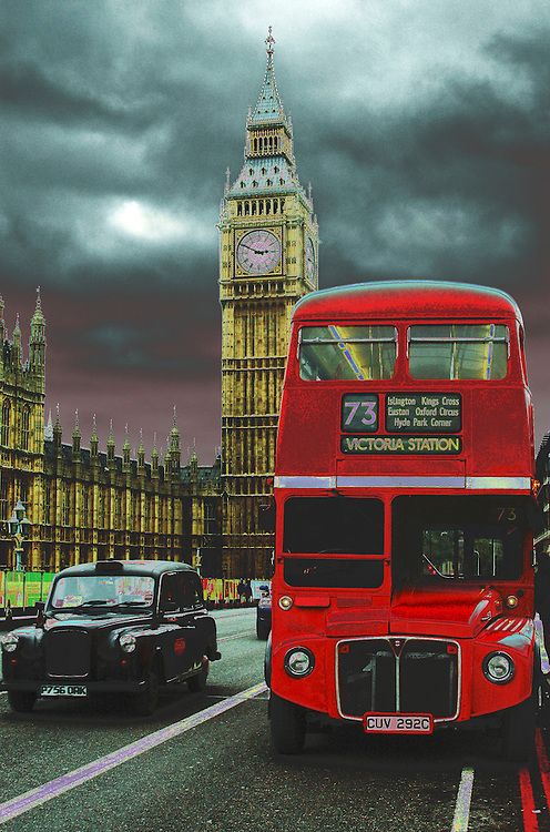 London's icons the Big Ben  bus and taxi