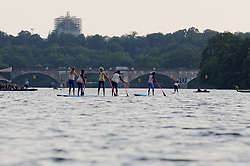 Paddle boards are used as part of the performance on the Schuylkill River during the Invisible River Festival on Saturday. (Bastiaan Slabbers/for PhillyVoice)
