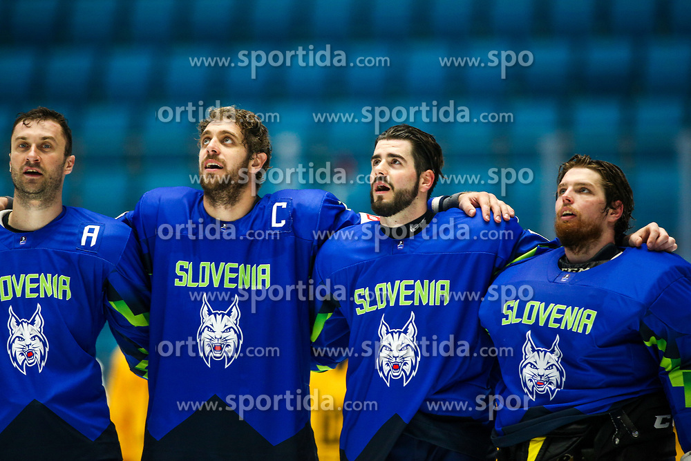 Sabahudin Kovacevic of Slovenia, Anze Kopitar of Slovenia, Jurij Repe of Slovenia and Luka Gracnar of Slovenia singin national anthem after ice hockey match between Slovenia and Lithuania at IIHF World Championship DIV. I Group A Kazakhstan 2019, on May 5, 2019 in Barys Arena, Nur-Sultan, Kazakhstan. Photo by Matic Klansek Velej / Sportida