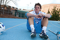 14 February 2009: North Carolina Tar Heels defenseman Kevin Piegare (17) during the halftime of a 20-7 win over the Denver Pioneers on Fetzer Field in Chapel Hill, NC.