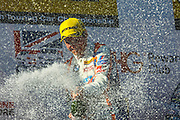 Team JCT600 with GardX's Sam Tordoff celebrates winning round 12 of the Dunlop MSA British Touring Car Championship at Oulton Park, Budworth, Cheshire, United Kingdom on 7th June 2015. Photo by Aaron Lupton.