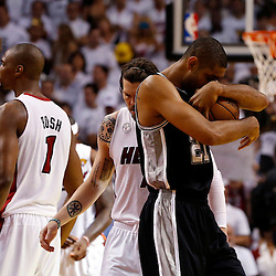 Jun 18, 2013; Miami, FL, USA; San Antonio Spurs power forward Tim Duncan (21) gets ready to play game six in the 2013 NBA Finals against the Miami Heat at American Airlines Arena.  Mandatory Credit: Derick E. Hingle-USA TODAY Sports