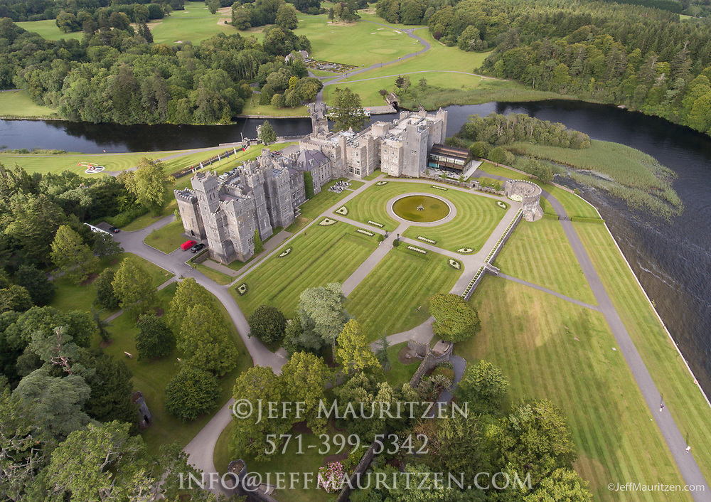 Aerial view of Ashford Castle, a 13th century castle turned into a 5 star luxury hotel.