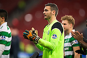Celtic goalkeeper Craig Gordon (#1) applauds Celtic fans following the Scottish Cup final match between Aberdeen and Celtic at Hampden Park, Glasgow, United Kingdom on 27 November 2016. Photo by Craig Doyle.