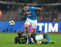 NAPLES, Oct. 22, 2017  Inter Milan's Joao Mario (L) vies with Napoli's Marko Rog during the Serie A soccer match between Inter Milan and Napoli in Naples, Italy, Oct. 21, 2017. The match ended with a 0-0 tie. (Credit Image: © Alberto Lingria/Xinhua via ZUMA Wire)