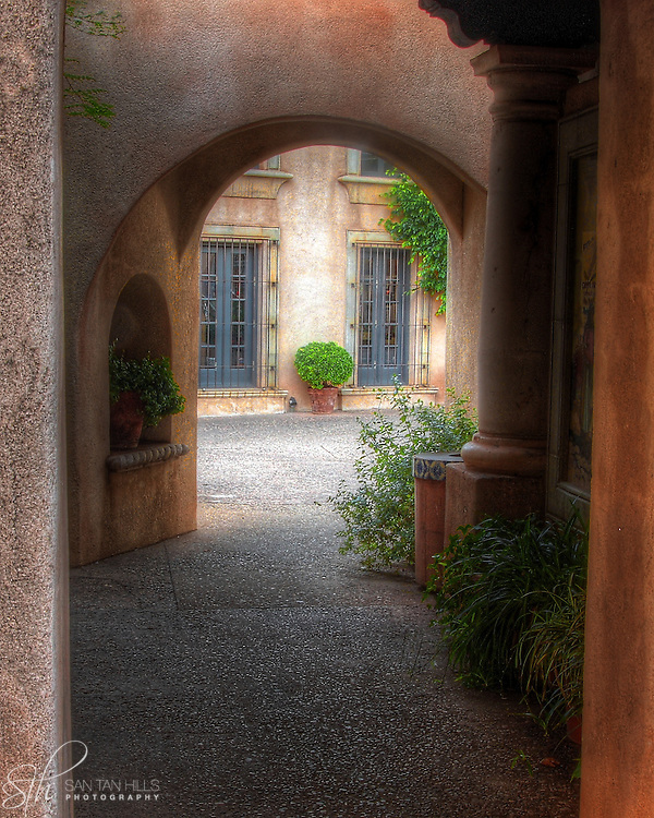 Beautiful arched walkway near the entrance to Tlaquepaque, Sedona, AZ