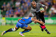 Nemani Nadolo of the BNZ Crusaders looks to break past Ben Tapuai of the Western Force during the Canterbury Crusaders v the Western Force Super Rugby Match. Nib Stadium, Perth, Western Australia, 8th April 2016. Copyright Image: Daniel Carson / www.photosport.nz