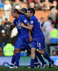 23.10.2011, Craven Cottage, London, ENG, PL, FC Fulham vs FC Everton, im Bild Everton's Jack Rodwell celebrates scoring his side's third goal // during the Premier League match between FC Fulham vs FC Everton, at Craven Cottage stadium, London, United Kingdom on 23/10/2011. EXPA Pictures © 2011, PhotoCredit: EXPA/ Propaganda Photo/ Chris Brunskill +++++ ATTENTION - OUT OF ENGLAND/GBR+++++