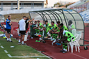 Forest Green Rovers manager, Mark Cooper giving the half time team talk outside during the Pre-Season Friendly match between SC Farense and Forest Green Rovers at Estadio Municipal de Albufeira, Albufeira, Portugal on 25 July 2017. Photo by Shane Healey.