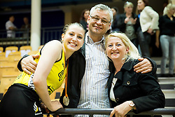 Rebeka Abramovic of Athlete Celje with her parents celebrate after winning during basketball match between ZKK Athlete Celje and ZKK Triglav in Finals of 1. SKL for Women 2014/15, on April 20, 2015 in Gimnazija Celje Center, Celje, Slovenia. ZKK Athlete Celje became Slovenian National Champion 2015. Photo by Vid Ponikvar / Sportida
