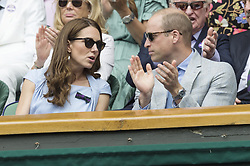 July 14, 2019 - London, London, UK - London, UK. The Duchess of Cambridge (L) and The Duke of Cambridge (R) watch the centre court mens singles finals of the Wimbledon Tennis Championships 2019 on on Day 13 held at the All England Lawn Tennis and Croquet Club. (Credit Image: © Ray Tang/London News Pictures via ZUMA Wire)