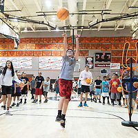 Austin Stewart, 12, practicing a shooting drill during the Bengal Basketball Kids Camp, Monday, June 3 at Gallup High School.
