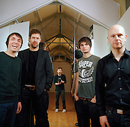 UK. Oxford based band Radiohead photographed in the attic of the Oxford Playhouse theatre..From left to right: Colin Greenwood,  Ed O'Brian, Thom Yorke, Jonny Greenwood and Phil Selway..Photo©Steve Forrest