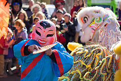 """United States, Washington, Seattle. Lion Dance at Chinese Lunar New Year celebration in Seattle's """"International District"""", traditional home of the city's Asian community."""