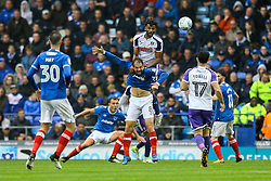 Michael Ihiekwe of Rotherham United jumps above Brett Pitman of Portsmouth to head the ball - Mandatory by-line: Jason Brown/JMP - 03/09/2017 - FOOTBALL - Fratton Park - Portsmouth, England - Portsmouth v Rotherham United - Sky Bet League Two