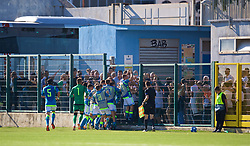 NAPLES, ITALY - Wednesday, October 3, 2018: Napoli players celebrate an injury time equalising goal, despite there being two balls on the pitch, during the UEFA Youth League Group C match between S.S.C. Napoli and Liverpool FC at Stadio Comunale di Frattamaggiore. (Pic by David Rawcliffe/Propaganda)