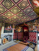 """Hunt of the Unicorn"" replica tapestries in the Scottish Queen's Inner Hall in the Royal Palace at Stirling Castle, in Scotland, United Kingdom, Europe. The Royal Palace was childhood home of Mary Queen of Scots. The palace's lavish design drew on European Renaissance fashions to show off James V's power and good taste. Historic Scotland has recreated the palace interiors as they may have looked when the Scottish king's grand scheme was complete. The ""Hunt of the Unicorn"" tapestries in the Queen's Lodgings are replicas hand-loomed from 2001-2014, inspired from the seven original tapestries made in Brussels between 1495-1505 (now in the Cloisters museum of New York's Metropolitan Museum of Art). Why a unicorn? In Celtic mythology the unicorn symbolized purity, innocence, masculinity and power. The proud, haughty unicorn was chosen as Scotland's national animal because it would rather die than be captured, just as Scots would fight to remain sovereign and unconquered. Once the capital of Scotland, Stirling is visually dominated by Stirling Castle. Most of Stirling Castle's main buildings date from the 1400s and 1500s, when it peaked in importance. This image was stitched from several overlapping photos."