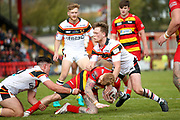 Bradford Bulls scrum half Cory Aston (41) in the tackle  during the Kingstone Press Championship match between Dewsbury Rams and Bradford Bulls at the Tetley's Stadium, Dewsbury, United Kingdom on 10 September 2017. Photo by Simon Davies.