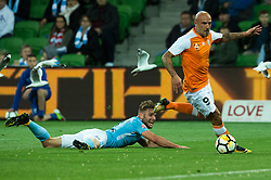 October 6, 2017 - Melbourne, Victoria, Australia - Melbourne, Victoria, Australia - Massimo Maccarone (#9) of Brisbane Roar gets away from Bart Schenkeveld (#5) of Melbourne City during the round 1 match between Melbourne City and Brisbane Roar at AAMI Park in Melbourne, Australia during the 2017/2018 Australian A-League season. (Credit Image: © Theo Karanikos via ZUMA Wire)