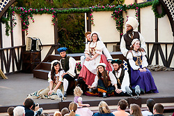 USA Utah, Utah Shakespeare Festival in Cedar City presents theater play Mary Stuart by Friedrich Schiller, with Green Show entertainment before main performance.