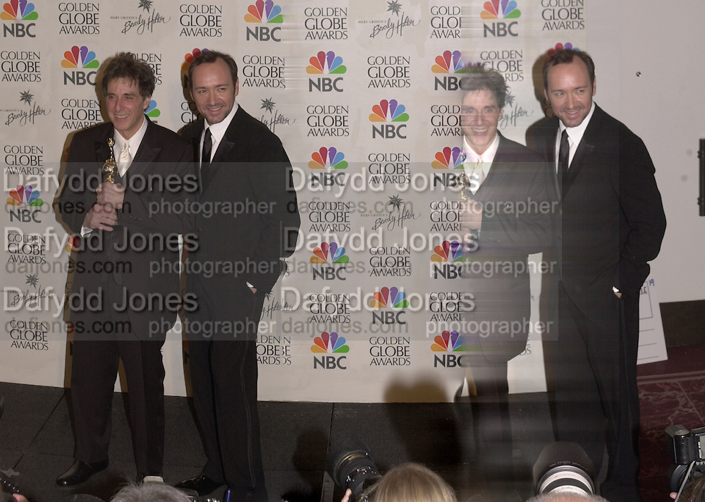Al Pacino and Kevin Spacey. Golden Globes. Beverley Hilton. 21 January 2001. © Copyright Photograph by Dafydd Jones 66 Stockwell Park Rd. London SW9 0DA Tel 020 7733 0108 www.dafjones.com