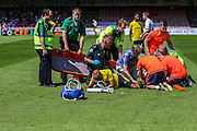 Alex Baptiste suffers horrific injury during the Friendly match between York City and Middlesbrough at Bootham Crescent, York, England on 11 July 2015. Photo by Simon Davies.